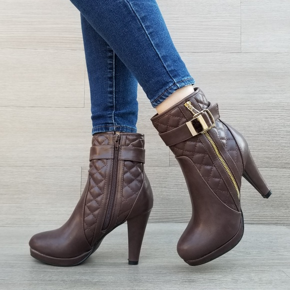 579fcf8f4b3b Brown Quilted Platform High Heels Booties